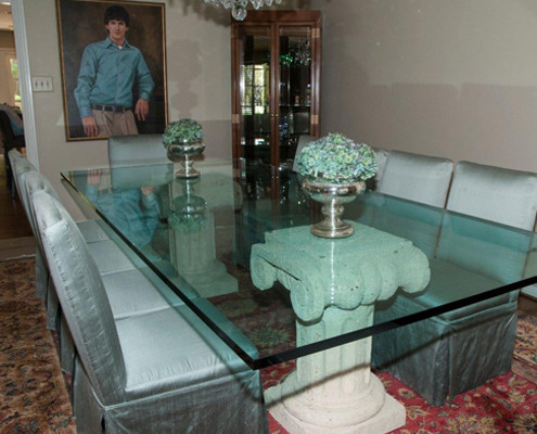 glass table in dining room