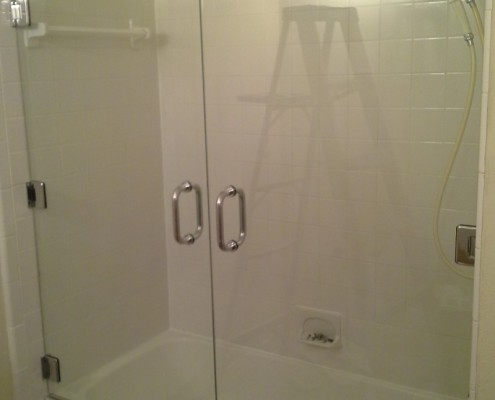 double door glass shower